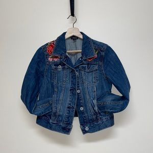 Ana rose embroidered jean jacket floral